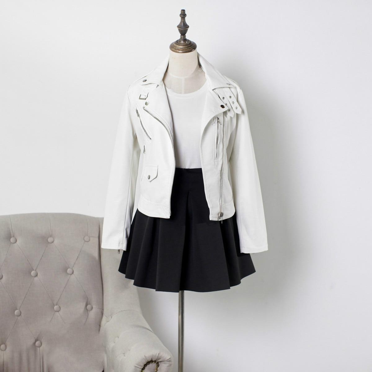 Automne haut pour femme PU Moto veste filles court blanc Moto Biker veste Streetwear Faux cuir à manches longues mince femme manteau