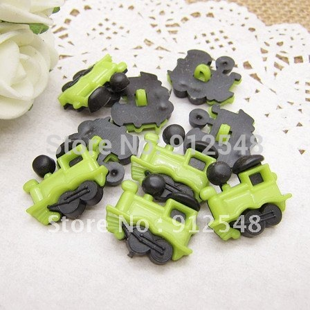 100pcs green Train plastic buttons flower buttons for children garment ,hc005
