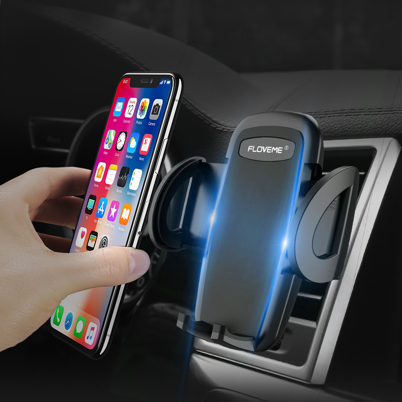 FLOVEME Universal Car Phone Holder For iPhone 7 8 X Stable Clip 180 Degree Rotation Air Vent Mount Mobile Phone Holder Stand