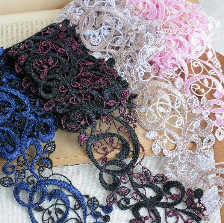 Fabric Venice Collar Lace Polyester Sewing Trim Charming Flowers Applique Craft