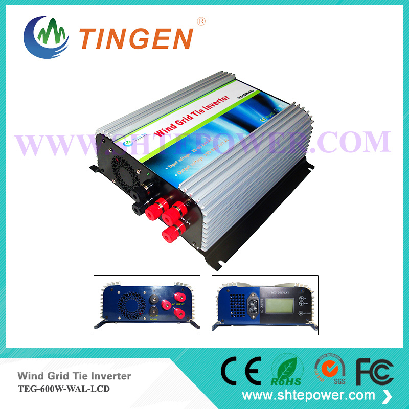 3 phase AC 22-60v input micro grid tie inverter wind turbine generator LCD dump load resistor 600w micro inverter 600w on grid tie windmill turbine 3 phase ac input 10 8 30v to ac output pure sine wave