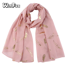 Winfox Fashion Pink Leaf Print Female Metallic Gold Foil Glitter Floral Shawls Wrap Scarf For Women Ladies