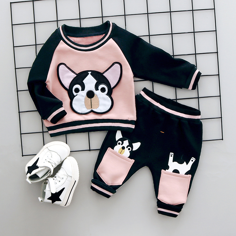 MANJI Boys Clothing Set Winter 0-3y New 2017 Fashion Style Cotton O-Neck full Sleeve with Dog Print Baby Boy Clothes A008 2017 new boys clothing set camouflage 3 9t boy sports suits kids clothes suit cotton boys tracksuit teenage costume long sleeve