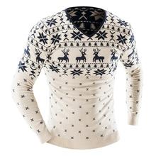 Новый 2017 Для мужчин модные животных печати свитер Для мужчин для Отдыха Slim v-образным вырезом с длинными рукавами Однотонный свитер высокое качество мужской одежды XXL Юй