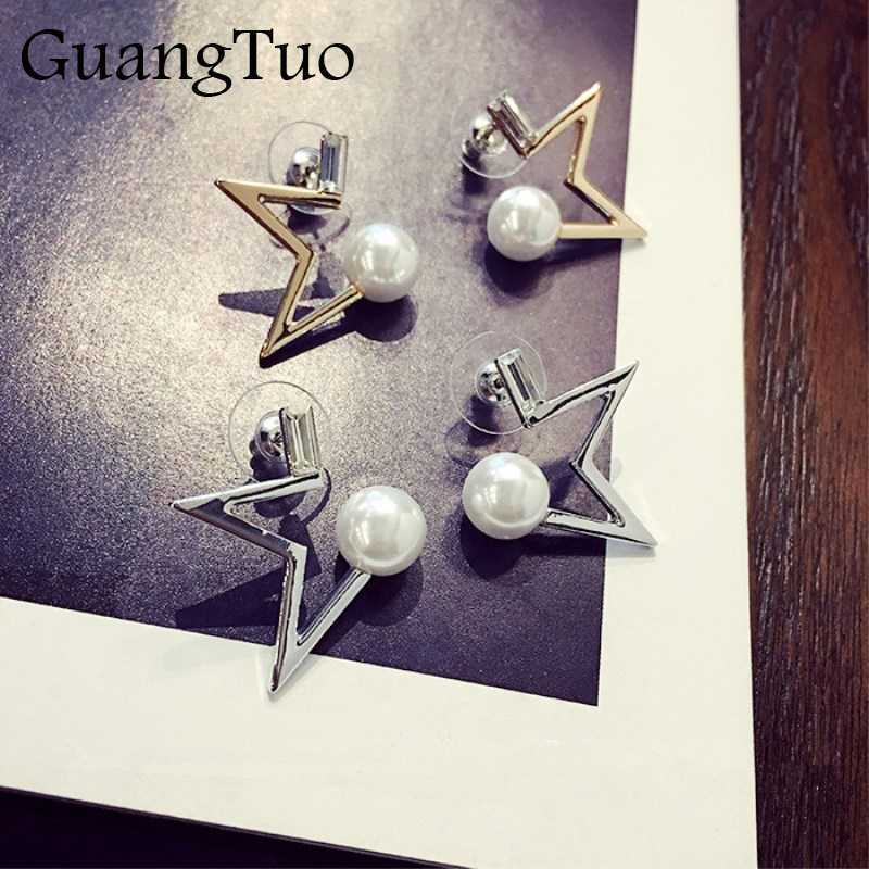 New Fashion Simple Simulated Pearl Crystal Hollow Star Stud Earrings For Women Lovely Jewelry Gift