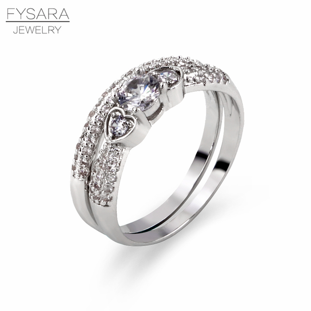 FYSARA Couple Rings For Women Jewely Rings Bridal Set Channel Setting Love Rings Double Heart Crystal Wedding Eternity Ring Gift