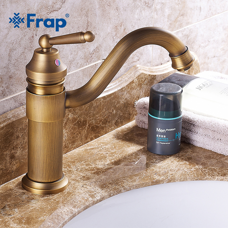 FRAP Basin Faucets Bathroom Mixer Deck Mounted Single Handle Single Hole Bathroom Rotatable Faucet Brass Hot and Cold Tap Y10063 antique brass basin faucets bathroom sink mixer deck mounted single handle single hole bathroom faucet brass hot and cold tap