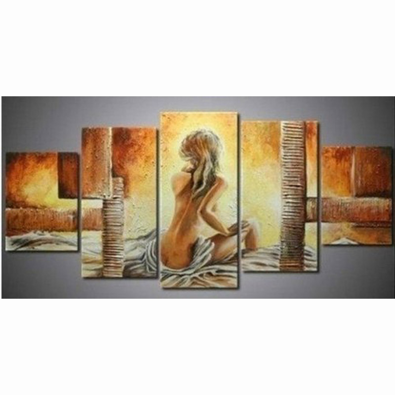 Hand Painted on Canvas Art of Naked Women Oil Paintings 5 Piece Landscape Modern Art for Living Room Home and Wall Decoration