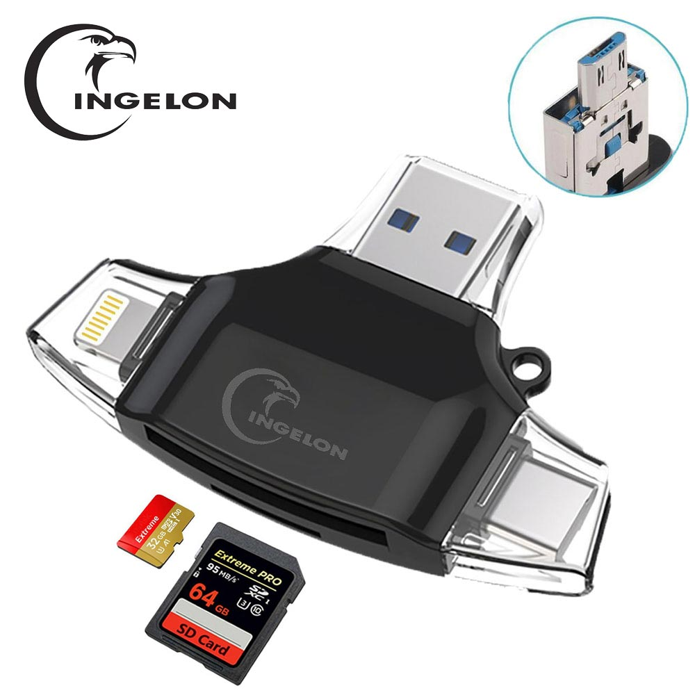 Ingelon Adaptador microSD Leitor de Cartão SD SDHC SDXC Leitor De Cartão microsd TF usb c OTG Memory Stick duo Adaptador RS MMC para iphone