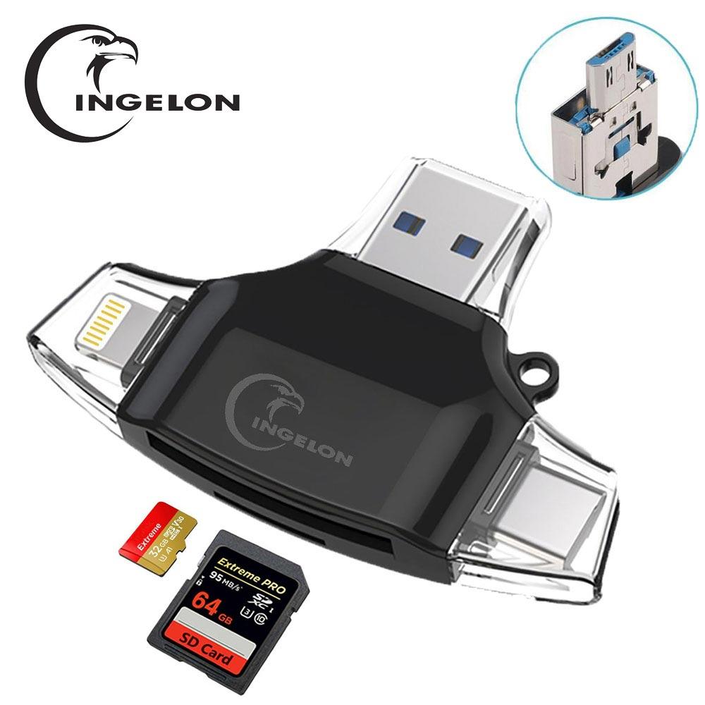 Ingelon lector de tarjeta SD Adaptador microSD lector de tarjetas SDHC SDXC usb TF c OTG Memory Stick duo RS MMC Adaptador para iphone