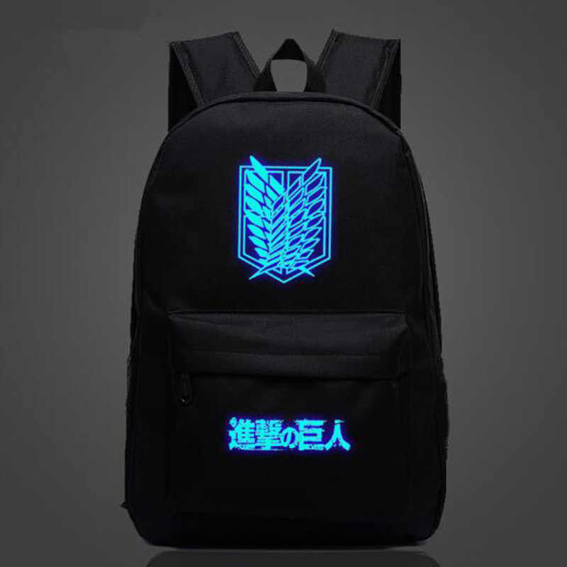 Attack on Titan Anime School Bag noctilucous Luminous backpack Student bag Notebook backpack Daily backpack Glow in the Dark
