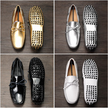 Spring Patent Leather Mens Tassel loafers Metal Punk Gold Sliver moccasins for men Slip on Casual Driving Boat Shoes