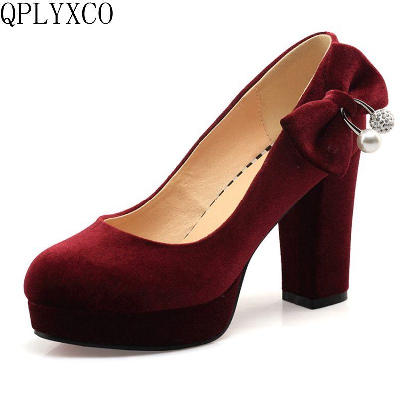 QPLYXCO 2017 New Elegant Big Size 33-43 Women High Heel Shoes Pumps Wedding Party Ladies Shoes Women Heeled Footwear C71
