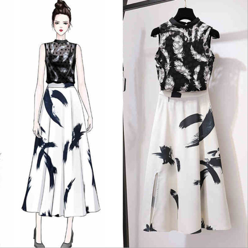 New Floral Print 2 Pieces Sets For Woman 2019 Summer Lace Sleeveless Tops+Long Skirt Vintage Female Evening Party 2 PCS Suits