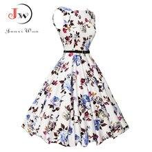 56cc0fada3 Mulheres Vestido de Verão plus size roupas Audrey hepburn Floral robe Retro  Balanço 50 s Vestidos