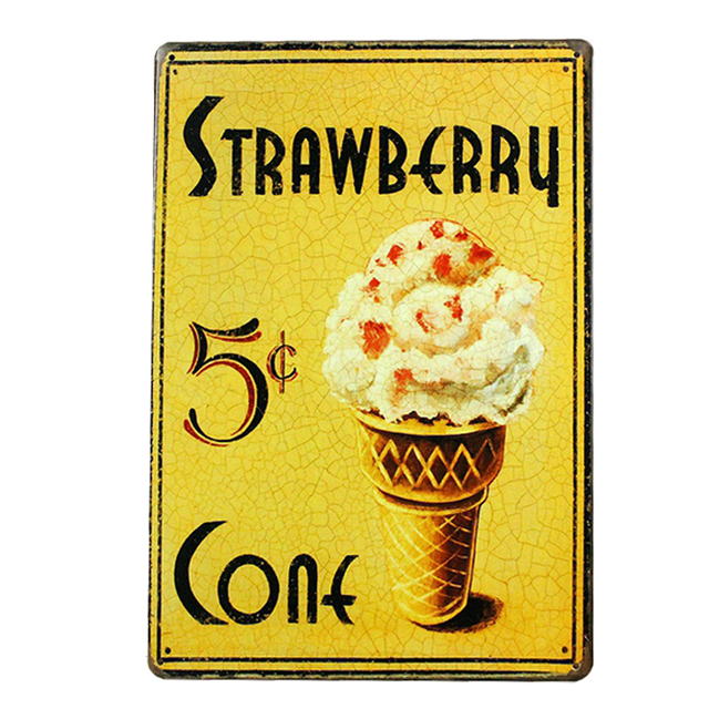 Strawberry Ice Cream Metal Vintage Tin Signs Retro Painting Home ...