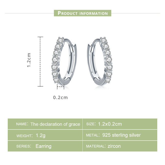 BAMOER 100% 925 Sterling Silver Dazzling Cristallo DELLA CZ Cerchio Rotondo Orecchini A Cerchio per Le Donne Gioielli In Argento Sterling SCE351-1H