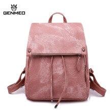 цена на GNEMEO New Arrival Multi Function Leather Fashion Backpack Female Drawstring Bag with Shoulder Strap Bolsa Feminina