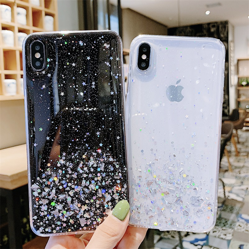 Glitter Sequins Phone Case For iPhone XR X XS MAX 11 Pro Max Back Cover 7 8 6 6s Plus Transparent Bling Shell