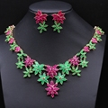Bridal Dress Accessories Jewelry Sets Gold Plated Red Green Z Jewelry Sets Flowers Necklace Earring sets