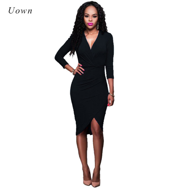 0d4be20d4300 Spring Autumn Brief Long Sleeve Black Midi Dress Women V Neck Asymmetrical  Bodycon Wrap Dress Office Work Dress Party Clubwear