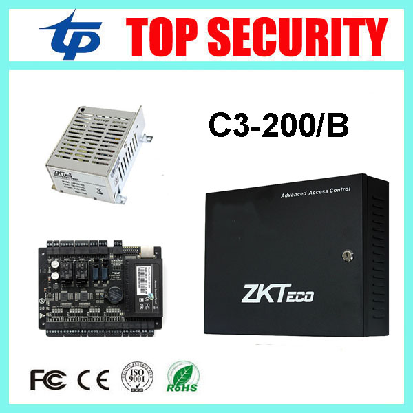 все цены на RFID card door access control system with battery function power supply box ZK TCP/IP C3-200 2 doors access control panel онлайн