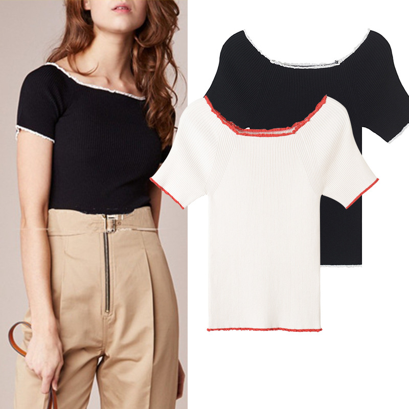 New 2018 The spring of fashion sexy word shoulder short sleeved shirt slim all-match knit T