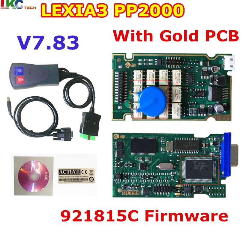 Цена за 10 шт./лот DHL бесплатно Новые Lexia3 с 921815C прошивки золотой pcb Lexia PP2000 Lexia 3 Diagbox V7.83 Lexia-3 инструменту диагностики
