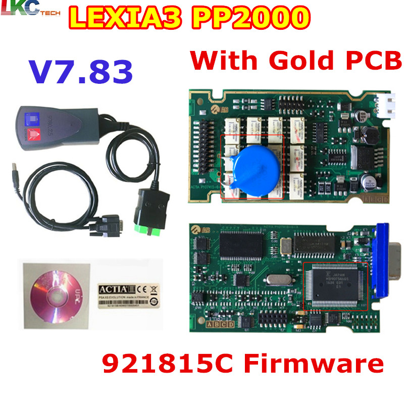 10pcs Lot DHL Free Newest Lexia3 With 921815C Firmware Golden PCB Lexia PP2000 Lexia 3 Diagbox