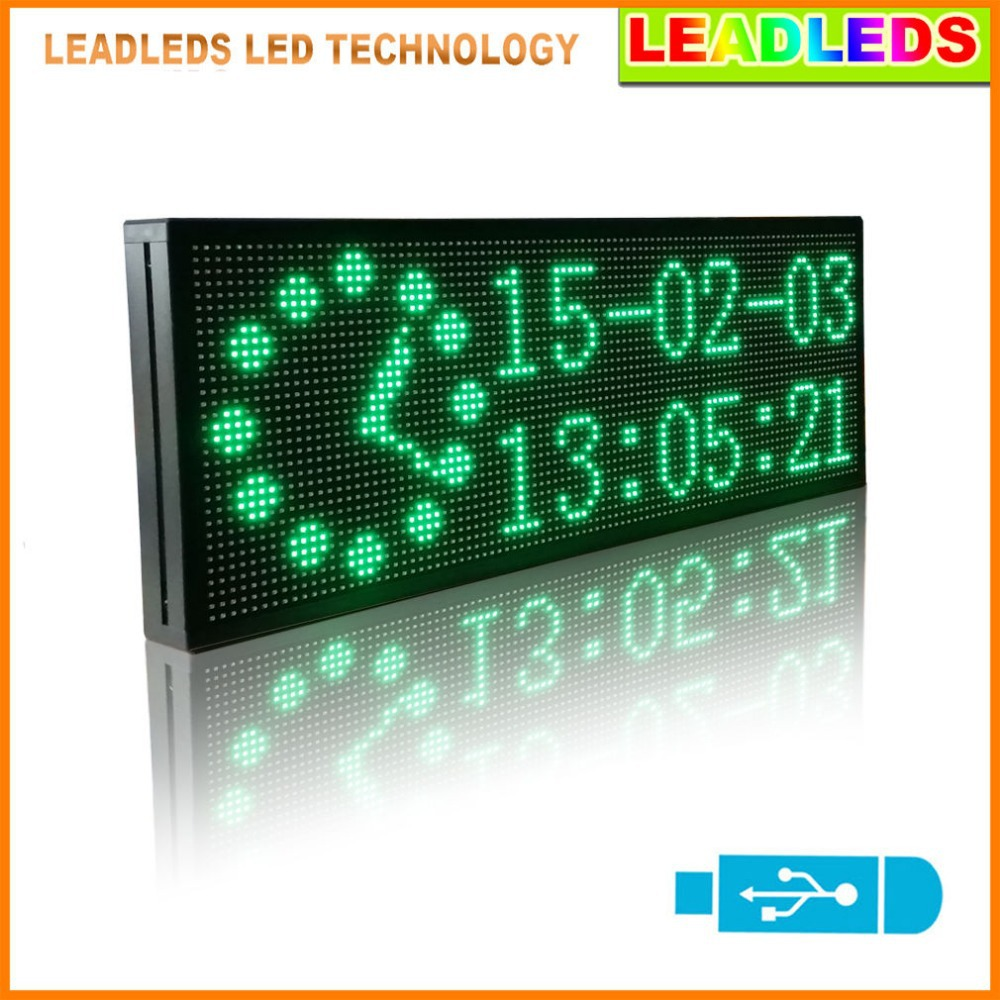 30x11inch Green Multi-line Display LED Sign Board Usb Programmable Display Scrolling  Advertising Business Sign