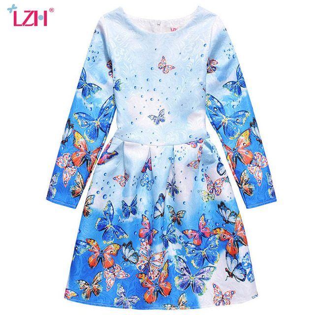 LZH Kids Girls Princess Party Dress 2017 Spring Girls Butterfly Print Long Sleeve A-Line Dresses For Girls Clothes 10 11 12 Year