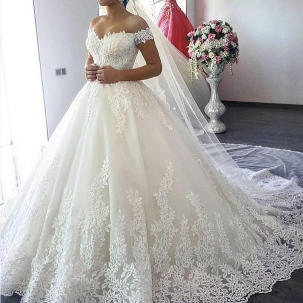 Fansmile Wedding-Dress Train Tulle Bridal Custom-Made White Off-The-Shoulder Plus-Size