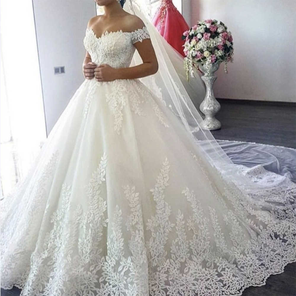 Fansmile 2019 White Off the Shoulder Vestido De Noiva Wedding Dress Train Custom-made Plus Size Bridal Tulle Mariage FSM-630T