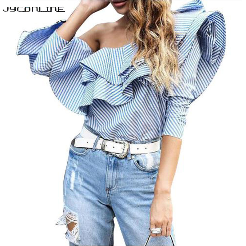 Elegantní prošívané blůzy Pruhované košile Dámské trička s dlouhým rukávem Dámské tričko s dlouhým rukávem Dámské tričko Blusas 2017 Summer Tops Cool Blouse