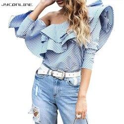 Elegant ruffles blouse striped shirts women off shoulder tops long sleeve women shirt female blusas 2017.jpg 250x250