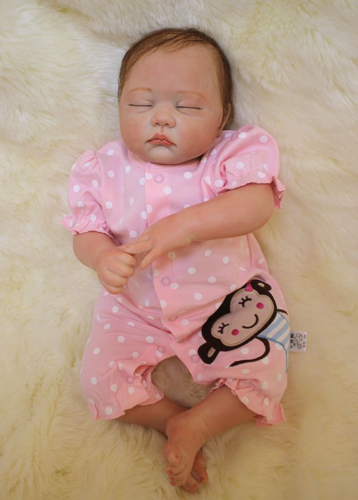 Doux Corps Silicone Reborn Bébé Poupées Jouet Réaliste Exquis de Couchage Nouveau-Né Filles Bébés D'anniversaire Cadeau Présent de Collection Poupée