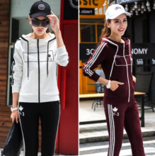 2016 Autumn Embroidery Hoodies Women Cotton Casual Hooded Tracksuit Sportsuit Two Piece Set Plus Size M