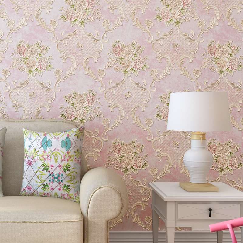 Embossed Exquisite American Country Bedroom Flower Non-woven 5d Wallpaper For Kids European Style Living Room Elegant TV Back