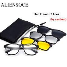 ALIENSOCE Magnetic Clip on Bifocal Reading Sunglasses Men Women Near Far Sight Polarized Magnetic Eyewear Eyeglass Frames+2 Lens