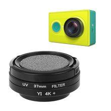 Filtro de lente UV de 37mm + adaptador de anillo de lente + tapa protectora para cámara Xiaomi Yi
