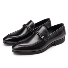 Fashion black loafers mens dress shoes genuine leather business shoes mens wedding shoes with buckle