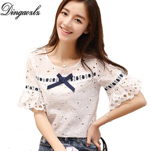 7d5aff11dea9 Dingaozlz ropa casual lace tops elegante ahueca hacia fuera mujeres blusa  moda 2018 Nueva Corea