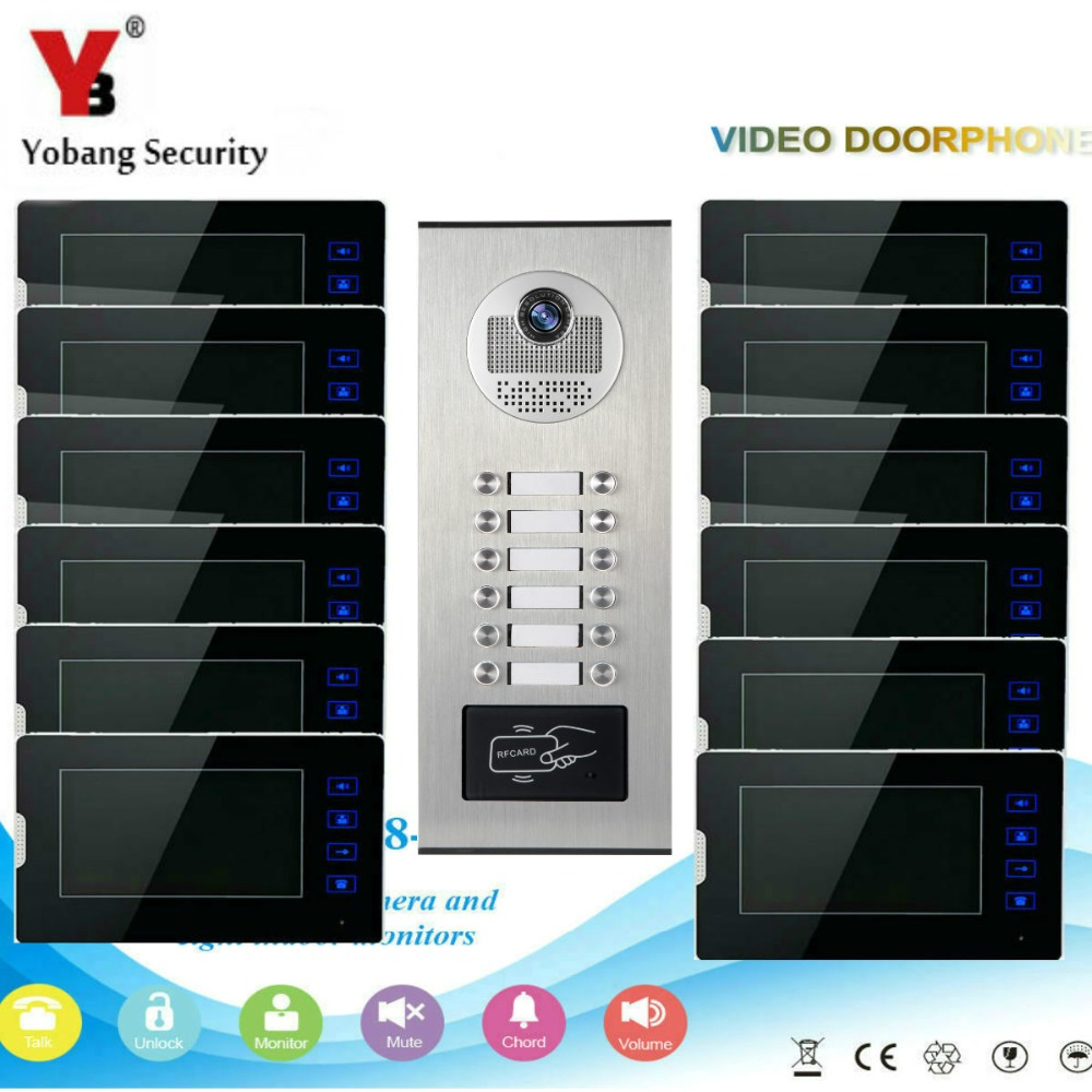 YobangSecurity Video Intercom 7Inch Video Door Phone Home Doorbell Intercom System RFID Access Door Camera For 12 Unit Apartment yobangsecurity home security video door phone system 7inch video doorbell door intercom rfid access control 1 camera 4 monitor