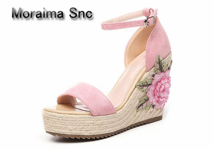 Moraima Snc escarpins femme 2018 embroider wedges sandals women high heels shoes women summer flower gladiator platform sandals phyanic 2017 gladiator sandals gold silver shoes woman summer platform wedges glitters creepers casual women shoes phy3323