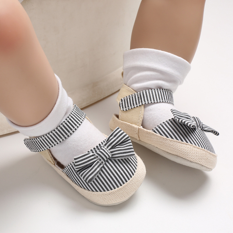 Summer Princess Baby Sandals Baby Shoes Fashion Bow Striped Sandals Baby Girl Non-slip Soft Bottom Shoes Girl Sandals