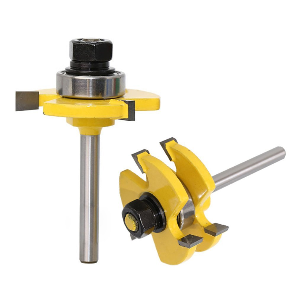 Set of 2 Pieces 1 4 Inch Shank Matched Tongue and Groove Router Bit Set in Tool Parts from Tools