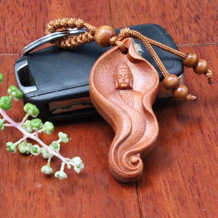 042bac8d3790 Moda Unisex creativo Pequeño Buda de madera con seguridad llavero Retro  budismo chino anillo llavero para el coche bolso