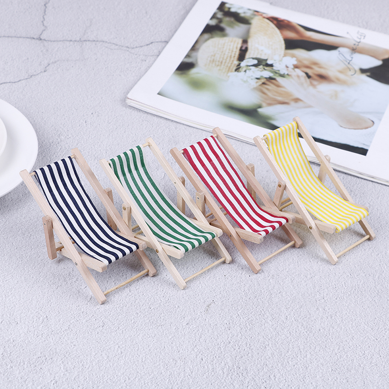 Home 2pcs Dollhouse Home Decoration 1:12 Mini Doll House Wooden Beach Chair Miniatures Home Scene Furnishings Emulational Furniture Utmost In Convenience
