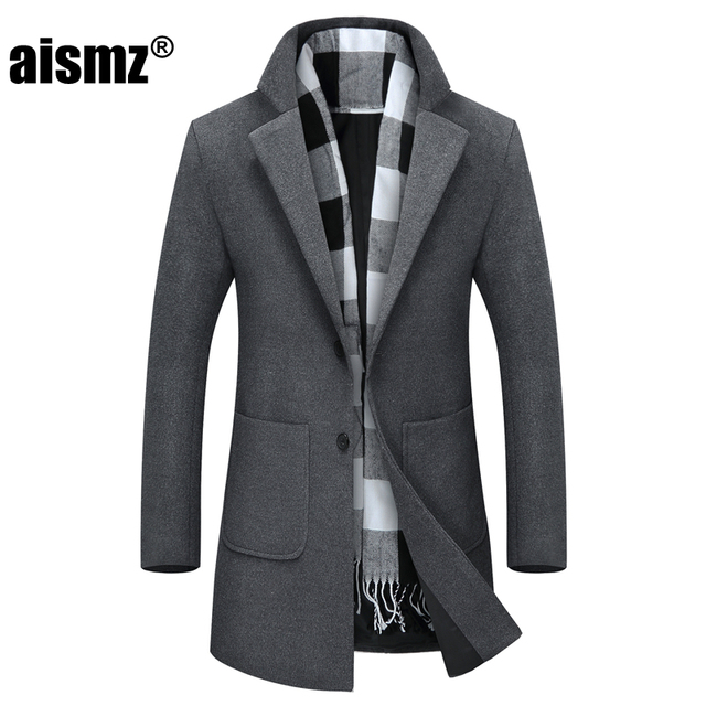 Aismz 2017 New Winter Long Peacoat Men Slim Fit Overcoat Mens Warm ...