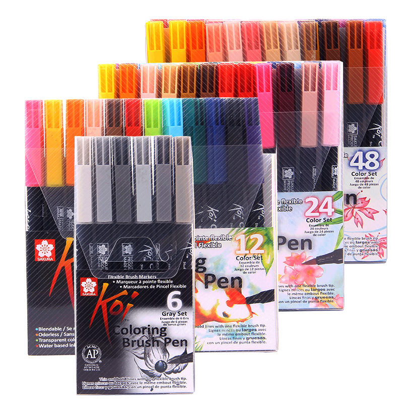Sakura Koi Coloring Brush Pen XBR 6 Gray/12/24/48 Colors Set Flexible Brush Marker Water Color Pen Painting Supplies
